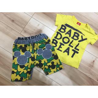 ベビードール(BABYDOLL)のBABY DOLL  Tシャツ&パンツセット  ミッキー 男の子 90 美品(パンツ/スパッツ)