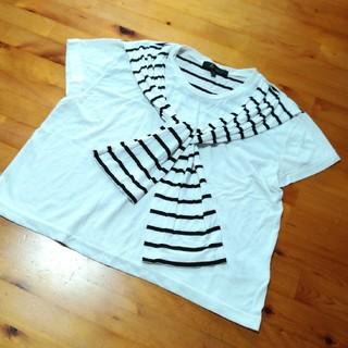 アンドバイピーアンドディー(&byP&D)の&byP&D ボーダー 肩掛けデザイン T シャツ  (Tシャツ(半袖/袖なし))