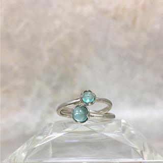 ヨンドシー(4℃)の正規品 4℃ 指輪 シルバー 銀 リング ダブル ストーン ブルー ヨンドシー(リング(指輪))