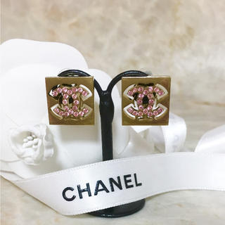 シャネル(CHANEL)の正規品 シャネル イヤリング ゴールド ココマーク ピンク ストーン 金 四角(イヤリング)