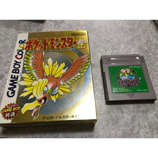 ゲームボーイ(ゲームボーイ)のゲームボーイ ポケモン 金 緑 GB(携帯用ゲームソフト)