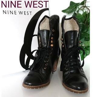 ナインウエスト(NINE WEST)のNINE WEST ナインウエスト レザー ヒール ショートブーツ 黒 ブラック(ブーツ)