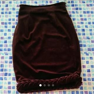 ジュンコシマダ(JUNKO SHIMADA)の美品 49avジュンコシマダ ベロア スカート S(ひざ丈スカート)