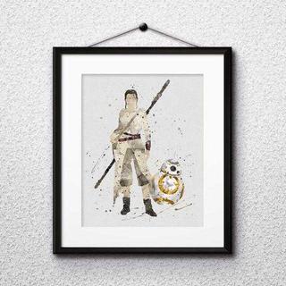 ディズニー(Disney)のレイ&BB8(スターウォーズ)アートポスター【額縁つき・送料無料!】(ポスター)