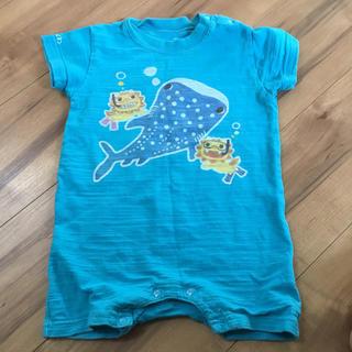 サイズ90 おきなわ ジンベイザメ ロンパース  水色(Tシャツ/カットソー)