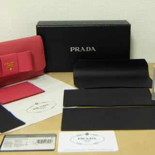 プラダ(PRADA)の未使用品 プラダ 長財布 ピンク レザー パスケース付き リボン 331(財布)