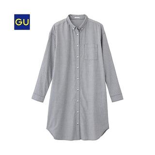 GU - 新品未使用【GU ジーユー】オックスフォードストライプシャツワンピース