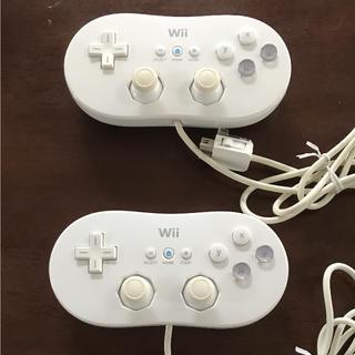 ウィー(Wii)のwii クラシックコントローラー  ホワイト  2個(その他)
