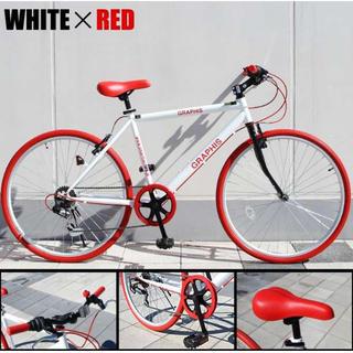 ギア6段速 クロスバイク レッドホワイト(自転車本体)