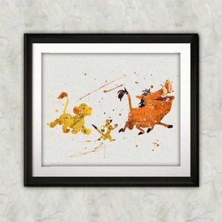 ディズニー(Disney)のシンバ&ティモン&プンバァ(ライオンキング)アートポスター【額縁つき・送料無料】(ポスター)
