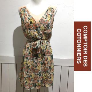 コントワーデコトニエ(Comptoir des cotonniers)のCONPTER DES COTONNIERS 花柄レイヤードワンピース(ひざ丈ワンピース)
