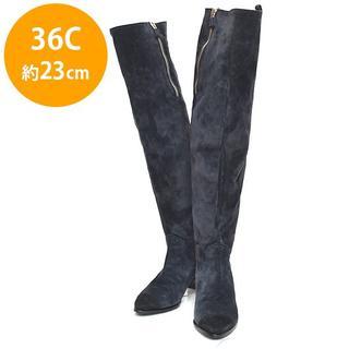 シャネル(CHANEL)の美品❤シャネル バックココマーク ニーハイ ロングブーツ 36C(約23cm)(ブーツ)