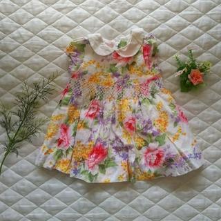 ベビーギャップ(babyGAP)の【美品】babygap 花柄ワンピース 70センチ(ワンピース)