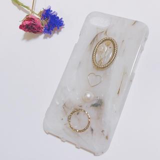 かすみ草ドライフラワー大理石風iPhoneケース♡アンティークカボション