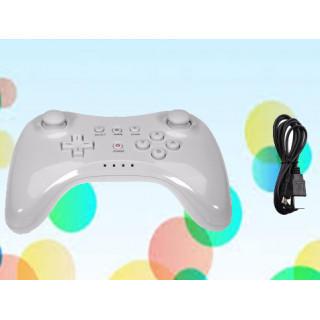 Wii U PRO コントローラー ワイヤレス 互換品 充電ケーブル付き☆白(その他)