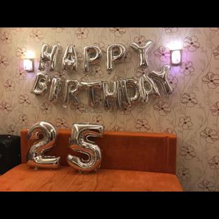 誕生日 Happy Birthday バルーン ガーランド Big 数字 25(ウェルカムボード)