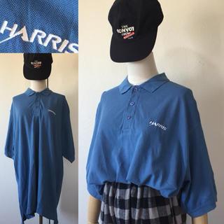 くすみブルー⭐️USA古着 ビッグ ポロシャツ ロゴ刺繍 ワンポイント XL(ポロシャツ)