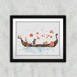 ディズニー(Disney)の日本未発売!ラプンツェル&フリンライダー・アートポスター【額縁つき・送料無料!】(ポスター)