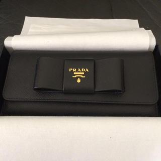 プラダ(PRADA)の新品未使用 プラダ リボン長財布 ブラック黒 カードケース ミニ折 バッグレザー(財布)