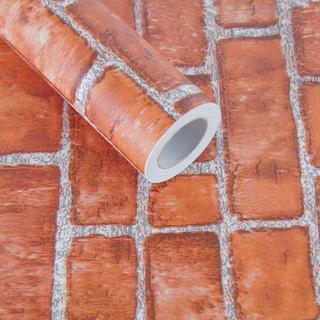 DIY 壁紙 シール レンガ ブラウン かんたん貼付シール 45cm×10m (その他)