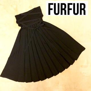 ファーファー(fur fur)の【 FUR FUR】♡フロントプリーツニットスカート(BLACK)+.*(ひざ丈スカート)