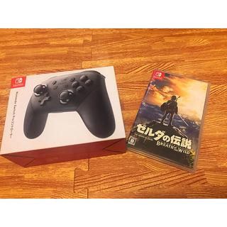 ニンテンドースイッチ(Nintendo Switch)の【美品】任天堂 Switch プロコン ゼルダの伝説セット(家庭用ゲーム本体)
