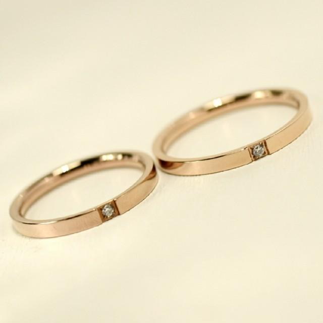 刻印無料 漢字ひらがな可能♪ペアリング  ピンクスリムジルコニア リング2個 レディースのアクセサリー(リング(指輪))の商品写真
