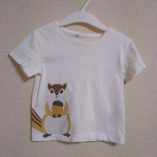 MUJI (無印良品) - 無印良品♥90cm りすオーガニックコットンプリントTシャツ
