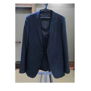 着用2度★紺無地 シングル2B スリーピース スーツ Y6   (お受験・面接 (セットアップ)