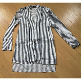 ザラ(ZARA)のZARA ネイビー ストライプ ロングシャツ美品!(シャツ/ブラウス(長袖/七分))