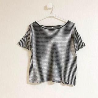 ムジルシリョウヒン(MUJI (無印良品))の✴︎ちャんりカ様 ご専用✴︎MUJI 細ボーダー 半袖 Tシャツ(Tシャツ(半袖/袖なし))