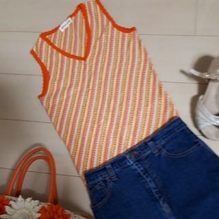 プライベートレーベル(PRIVATE LABEL)の美品プライベートレーベル カットソー オレンジ(カットソー(半袖/袖なし))