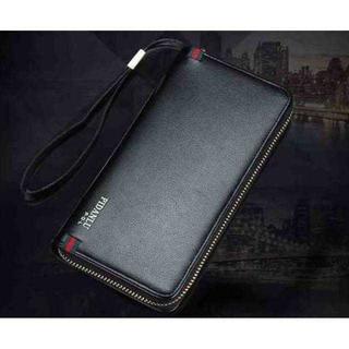 KU010 即購入OK!長財布 ラウンドファスナー 黒 イタリアテイスト 高級感(長財布)