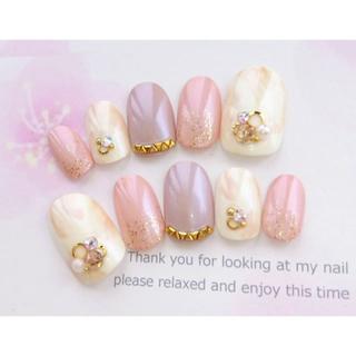 大人カラー♡ピンクとベージュと白のニュアンスマーブルのネイルチップ♡317 (つけ爪/ネイルチップ)