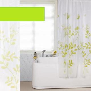 シャワーカーテン ロング 180cm×180cm 防カビ グリーン蝶々 北欧(カーテン)