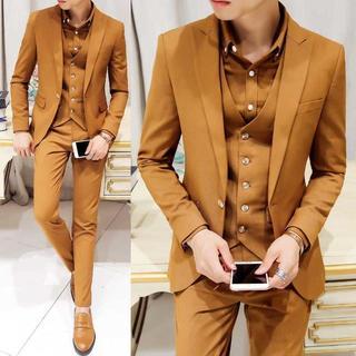 無地 メンズスーツ 紳士 セットアップ スーツジャケット zb428 (セットアップ)