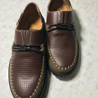 送料無料 子供シューズ フォーマルタイプ 牛革靴 19センチ 茶色(フォーマルシューズ)