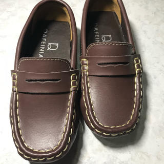 送料無料 子供シューズ カジュアルタイプ 牛革靴 19センチ 茶色(フォーマルシューズ)