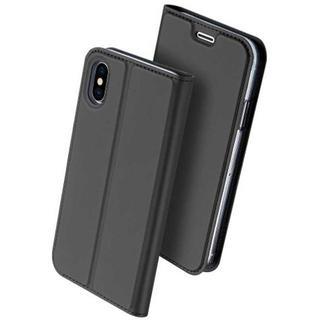 グレー  iPhoneX 高級感 薄型 シンプル スリム レザー 手帳型ケース