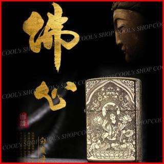 観音菩薩 五面総彫り オイルライター CHIEF ゴールド zippo 金 梵字(タバコグッズ)