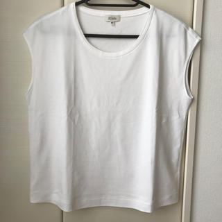 スキャパ(SCAPA)のSCAPA フレンチスリーブ ホワイト カットソー 42(カットソー(半袖/袖なし))