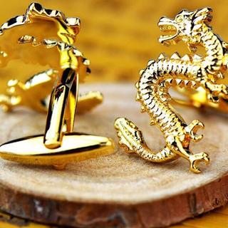 18K純金コーティング ドラゴンカフス  青龍カフスボタン (カフリンクス)