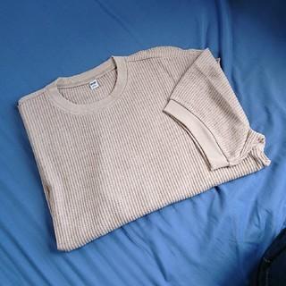 UNIQLO - UNIQLO ワッフルクルーネックTシャツ ベージュ