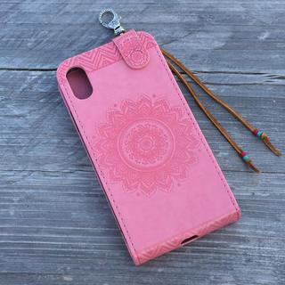 ボヘミアン オルテガ レザー チマヨ柄 スマホケース iPhoneケース ピンク
