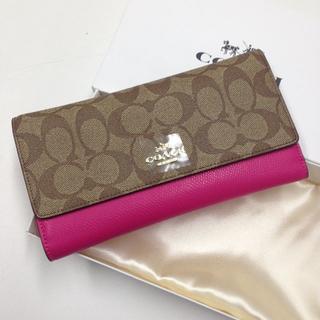 コーチ(COACH)のCOACH コーチ 人気の長財布 新品 バラ色 F53763 長財布(財布)
