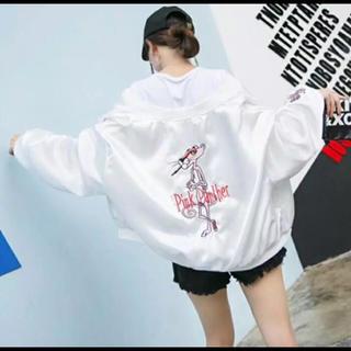 ピンクパンサー スカジャン ホワイト 韓国 オルチャン  ファッション(スカジャン)