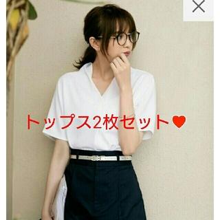 ジーユー(GU)のフロントタックプルオーバー 2枚セット(シャツ/ブラウス(半袖/袖なし))