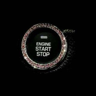 激安!!エンジンスタートプッシュボタン リング 装飾デコ スワロフスキー ピンク(車内アクセサリ)