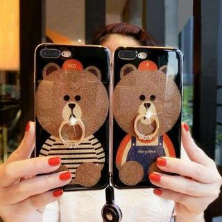 iPhoneケース クマさんが可愛い♡ラメ入りキラキラケース(iPhoneケース)