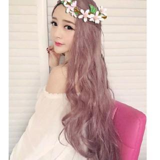 KU135 ネット付き♡新品美髪ウィッグ*ゆるカールロング*ラベンダーアッシュ(ロングカール)